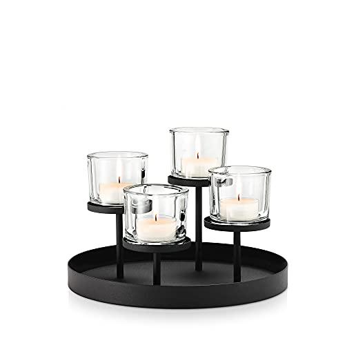 blomus -NERO- Kerzenleuchter aus pulverbeschichtetem Stahl mit Glas, moderner Kerzenhalter...