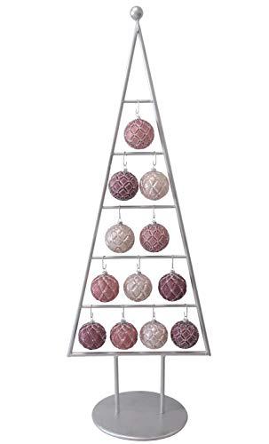MARC® Weihnachtsbaum Christbaum Metall Silber mit Glaskugeln violett-pink-Altrosa, 115cm