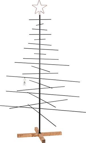 FairyTrees Metall Weihnachtsbaum, Metalltanne schwarz, inkl. Holzständer, 180 cm, FT-30