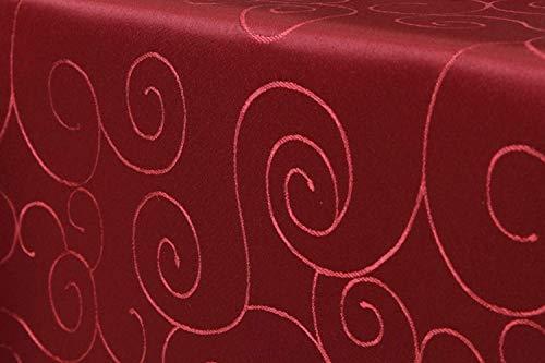 First-Tex Ornament Damast Tischdecke 160 cm, rund, rot, pflegeleicht, hochwertig