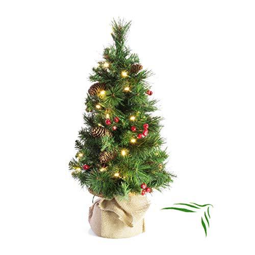 artplants.de Künstlicher Weihnachtsbaum BUKAREST, 35 Led's, geschmückt, 80 Zweige, 60cm,...