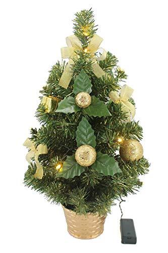 KRYSTAL 50 cm komplett geschmückt dekoriert Künstlicher Weihnachtsbaum mit 10 LED und Gold Deko,...