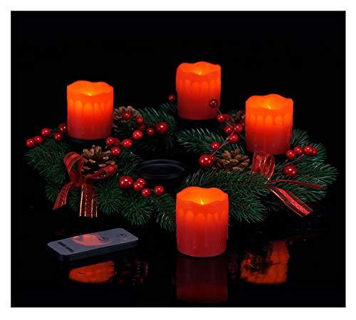 Spetebo Adventskranz mit 4 LED Kerzen und Fernbedienung - roter Weihnachtskranz mit...
