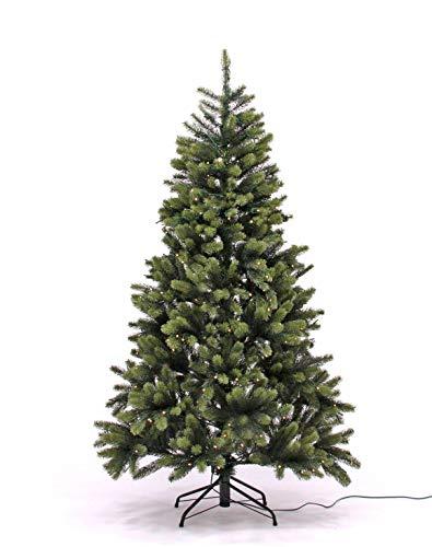 Spritzguss Christbaum mit LED Beleuchtung und silbernen Kugeln, 498 Tips B1, Höhe 150cm,...