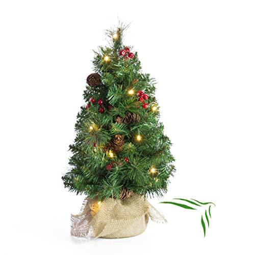 artplants.de Künstlicher Mini Weihnachtsbaum BUKAREST, LED's, geschmückt, 75 Zweige,...