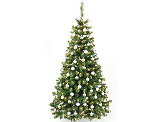 Künstlicher Weihnachtsbaume mit Christbaumkugeln Silber farbig und LED Beleuchtung