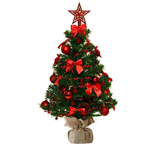 Baunsal GmbH & Co.KG Weihnachtsbaum Tannenbaum Christbaum künstlich 60 cm grün mit roter...