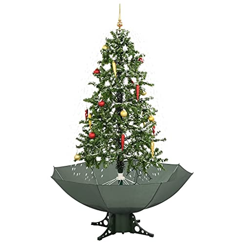 vidaXL Schneiender Weihnachtsbaum mit Schirmfuß Schneefall Kugeln LED-Lampen Tannenbaum...