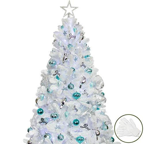 Busybee 180cm Weihnachtsbaum mit 240 LED-Lichtern und 135 Ornamenten. Blaue und weiße...