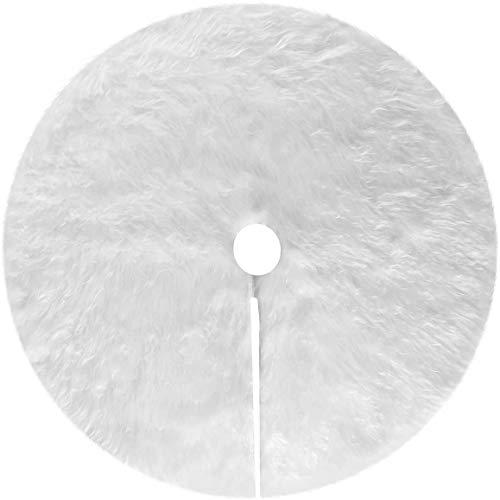 Baumdecke Weihnachtsbaum Decke, 78cm Weihnachtsbaumdecke Runde Form Schneeflocke Weiß Plüsch...