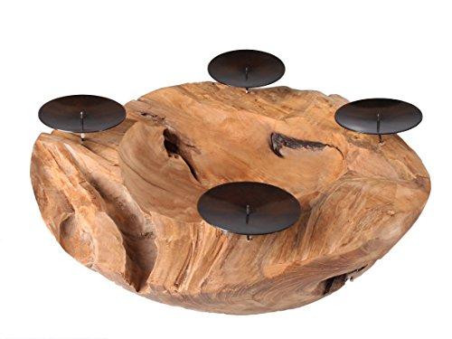 Ambientehome Java Exclusiv 32451 Schale Dino, Ø ca. 40 cm mit 4 Kerzenpicks, aus...