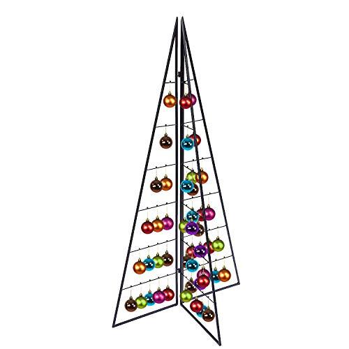 Metall Tannenbaum Weihnachtsbaum Christbaum klappbar Deko Schwarz 33 Haken H100xB56XL28cm