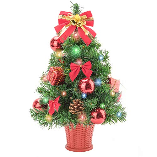 Amasava Mini Weihnachtsbaum Mini Tannenbaum mit 40 LED und 4 Rote Deko Beleuchten...