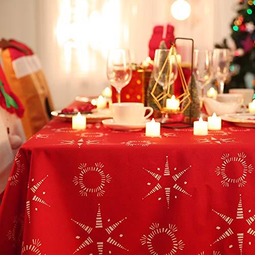 Deconovo Weihnachtstischdecke Tischdecke Wasserabweisend Lotuseffekt Weihnachten Tischtuch...