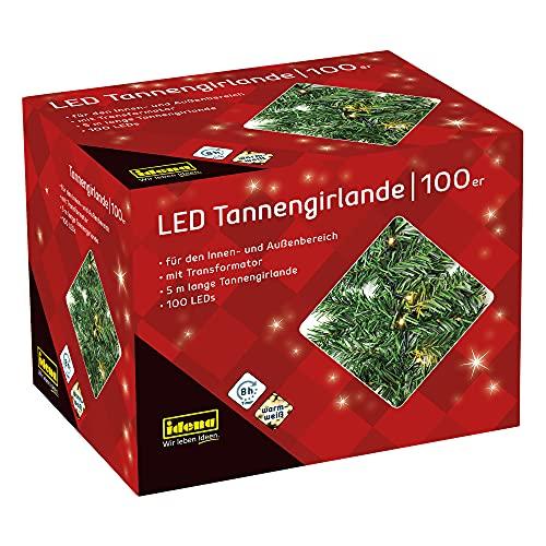 Idena 31814 - LED Tannengirlande mit 100 LED warmweiß, mit 8 Stunden Timer Funktion und...