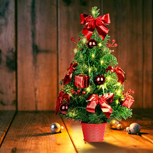 SHareconn Deko Tannenbaum mit 30 LED warm weiß, Künstlicher Mini Weihnachtsbaum klein...
