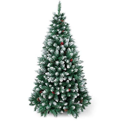 Sunjas Weihnachtsbaum künstlich, 120/150/180/210 cm Tannenbaum mit Schnee-Effekt, mit...