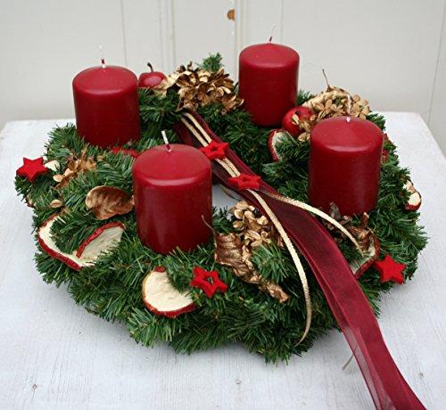 FRI-Collection Meisterfloristik Adventskranz Weihnachtskranz künstlich mit 4 roten Kerzen 35 cm...