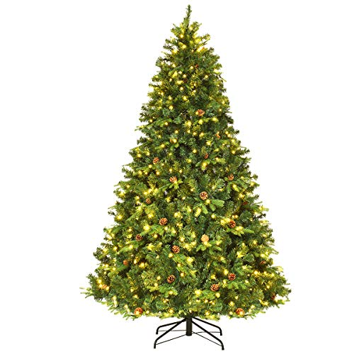 COSTWAY 210/225/240cm LED Künstlicher Weihnachtsbaum, Christbaum mit Klappsystem und...