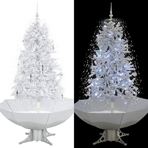 vidaXL Schneiender Weihnachtsbaum mit Schirmfuß Schneefall Kugeln LED-Lampen Tannenbaum Christbaum...