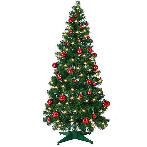 Weihnachtsbaum 150 cm Ständer LED Lichterkette Pop Up künstlicher Tannenbaum Christbaum Baum Tanne...