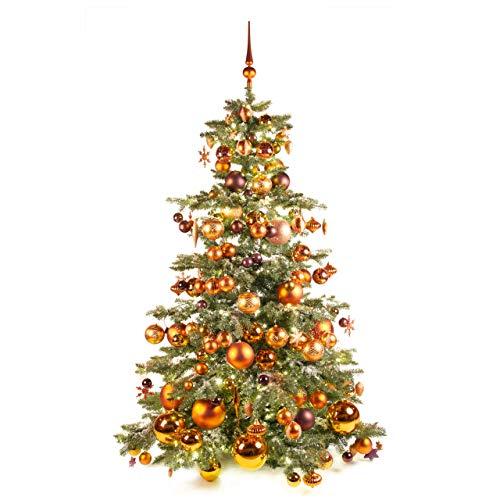 Xmasdeco Geschmückte Weihnachtsbaum 180 cm Warm Kupfer mit Beleuchtung | 440 LED