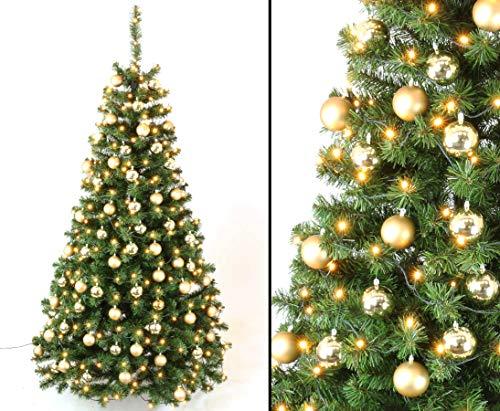 kunstpflanzen-discount.com Künstliche Weihnachtsbäume mit Christbaumkugeln Gold und...