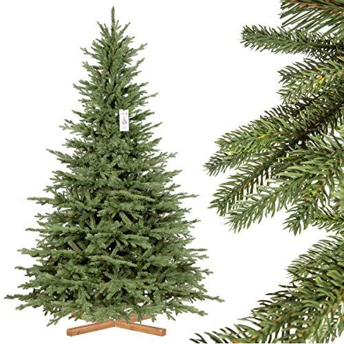 FairyTrees Weihnachtsbaum künstlich BAYERISCHE Tanne Premium, Material Mix aus Spritzguss...