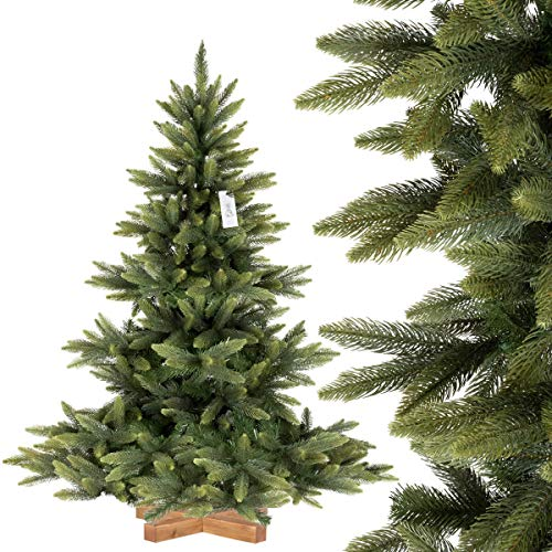 FairyTrees künstlicher Weihnachtsbaum NORDMANNTANNE Premium, Spritzguss & PVC, Ständer aus Holz,...
