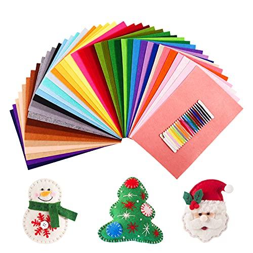 SOLEDI 41 Farben Filzstoff Bastelfilz Stoff Set, Kinder Vliesstoff Stoff Filzplatten Weich...