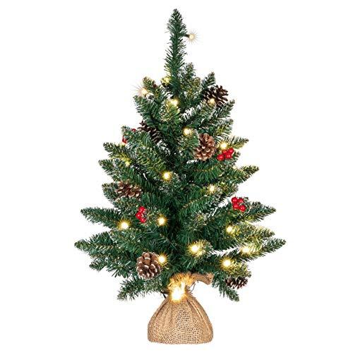 künstlicher Weihnachtsbaum grün mit Deko Lichterkette 30 LED warm weiß Batterie Timer...