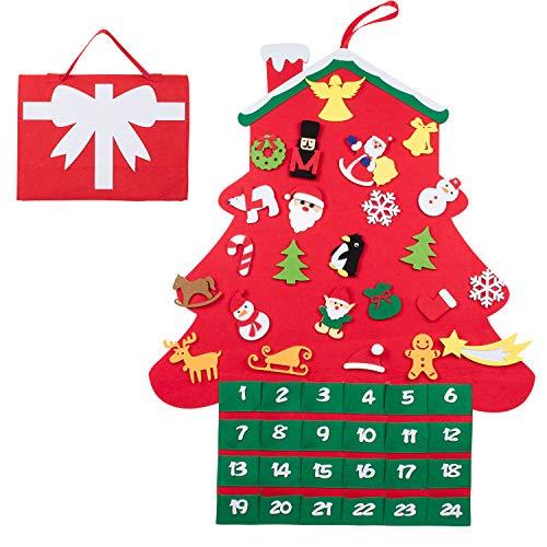 Filz-Weihnachtsbaumkalender zum befüllen mit 24 DIY weihnachtlichen Ornamenten