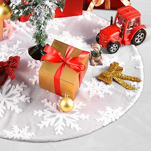 Weihnachtsbaumdecke Weiß Grau ChristbaumdeckeRund Weihnachtsbaum Dekoration...