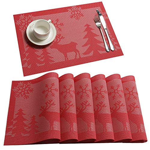 U'Artlines 6er Platzsets Weihnachts Schneeflocken Hirsch Vinyl Wärmedämmung Rot