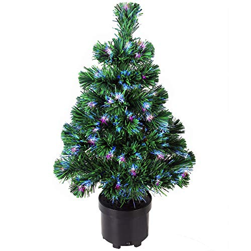Deuba Weihnachtsbaum 60 cm Farbwechselspiel 9 Verschiedene Lichteffekte Glasfaser Christbaum...