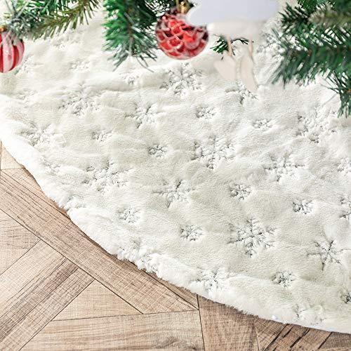 N /A Henrey Tech Weihnachtsbaumdecke Christbaumdecke Weißes Kunstfell Silber Glitter...