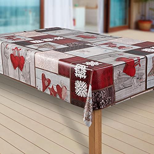 laro Wachstuch-Tischdecke Schneeflocke Weihnachten Weihnachts-Motive PVC Wachstischdecke...