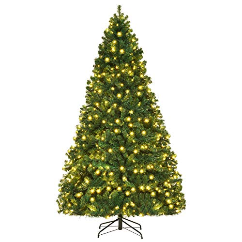 COSTWAY Künstlicher Weihnachtsbaum mit warmweißer LED-Lichterkette, Christbaum mit...