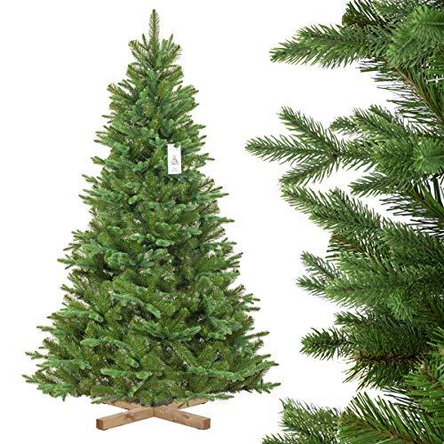 FairyTrees künstlicher Weihnachtsbaum NORDMANNTANNE Edel, Spritzguss & PVC, Ständer aus...