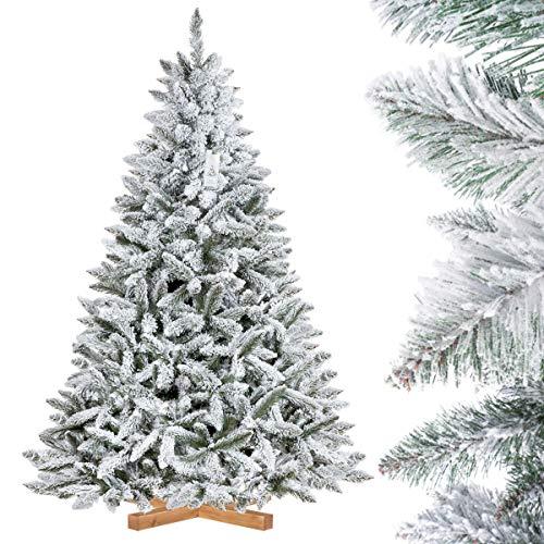 FairyTrees Weihnachtsbaum künstlich FICHTE, Natur-Weiss mit Schneeflocken, Material PVC,...