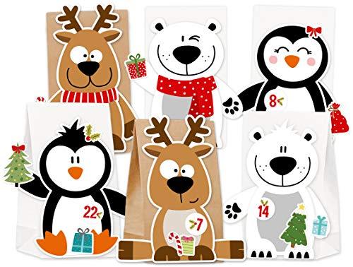 KuschelICH Adventskalender zum Befüllen Eisbär Rentier Pinguin - mit Stickern zum...