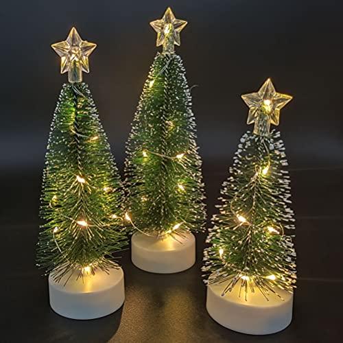 3 Stück Klein Künstlicher Weihnachtsbaum mit Beleuchtung und Holz Basis, für Zuhause...