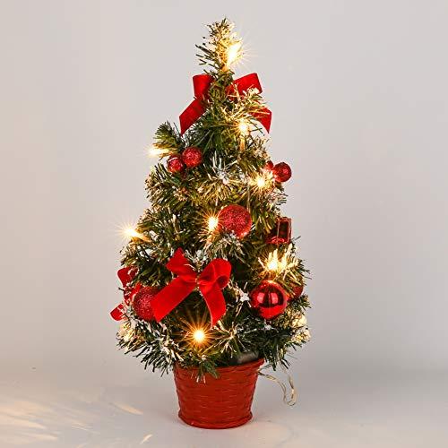 Urmagic Mini LED Weihnachtsbaum klein Künstlicher Tannenbaum mit LED Lichterkette...