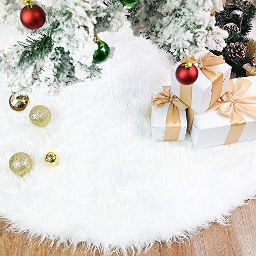 Rorchio 78cm Weihnachtsbaumdecke Weiß Plüsch Christmasbaumdecke Rund...