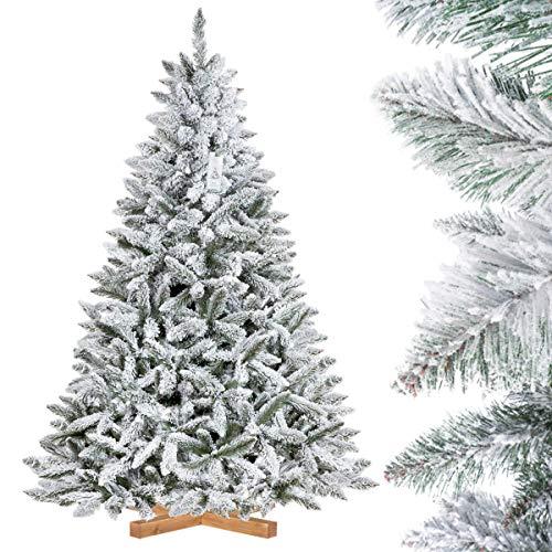FairyTrees Weihnachtsbaum künstlich FICHTE, Natur-Weiss mit Schneeflocken, Material PVC, inkl....
