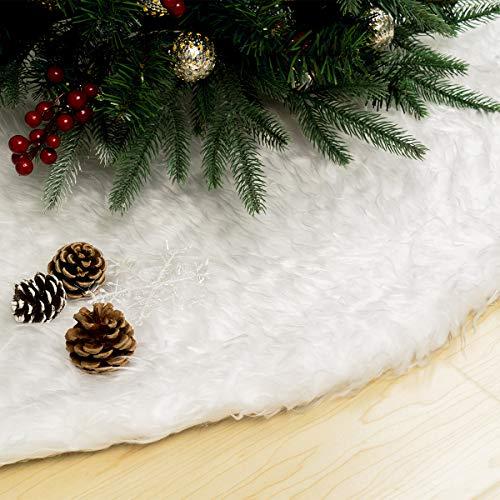GIGALUMI 90cm Weihnachtsbaumdecke Weiß Plüsch Christmasbaumdecke Rund Fell...