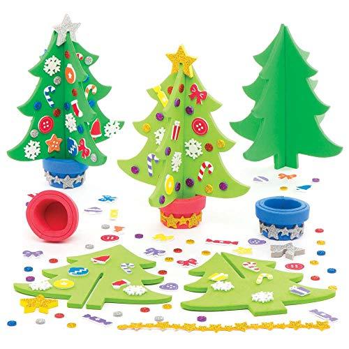 Baker Ross Weihnachtsbaum-Set (4 Stück) für Kinder, zum Basteln und Dekorieren