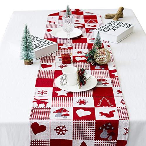 Joyibay Weihnachten Tischläufer, Rot Weihnachten Tischdecke Abwaschbar Esstisch Läufer...