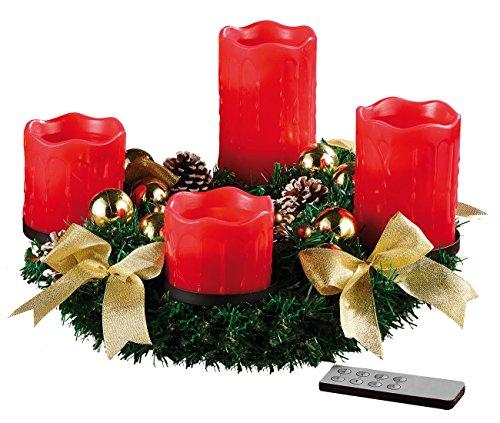 Britesta Adventskranz LED Lichter: Adventskranz mit roten LED-Kerzen, goldfarben geschmückt...