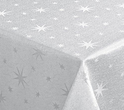 Lurex Sterne Tischdecke, Gold oder Silber glänzend, Weihnachtstischdecke Größe wählbar...